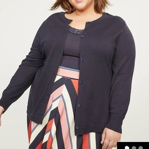 Lane Bryant-Button-Front Cardigan-Dark Navy